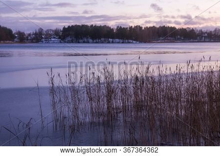 Beautiful Winter Landscape With Luka Lake In Trakai, Lithuania In Evening Time.