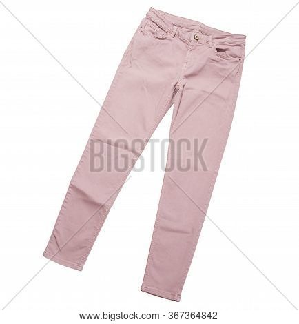 Female Pants, Light Pink Denim Pants Top View Isolated On White Background, Folded Slim Pants
