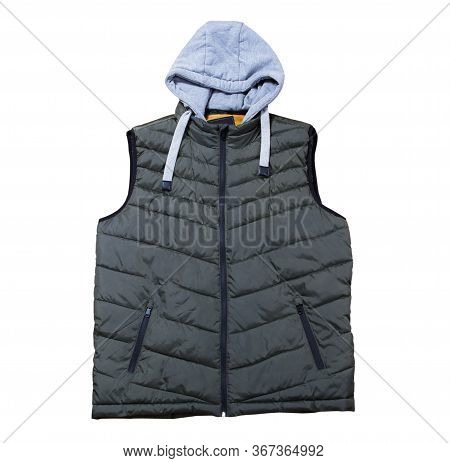 Vest With A Hood Isolated On The White Background, Green Vest Top View On A White Background. A Warm