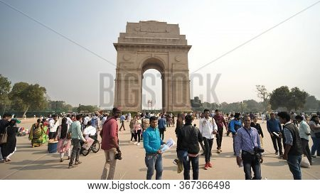 New Delhi, India - November 28, 2018: Attraction In The Capital Of India - India Gate.