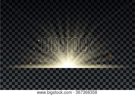 Golden Burst With Sparkle Rays And Lens Flare Effect. Glowing Stars. Golden Glitter Bokeh Lights And