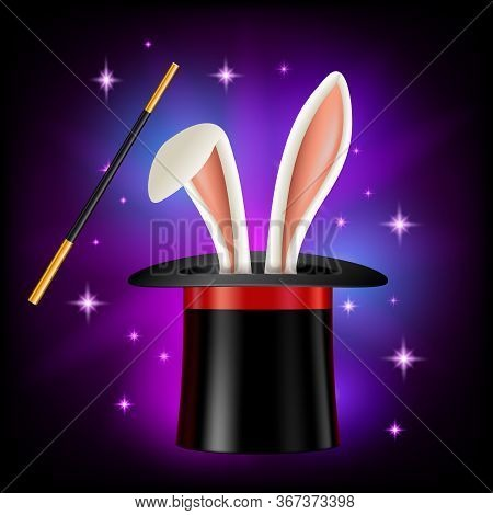Hat With Rabbit Ears And Magic Wand On Black Background. Magician Or Illusionist Items, Vector Illus