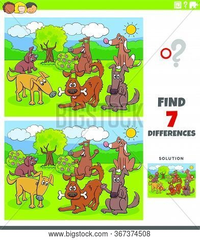 Cartoon Illustration Of Finding Differences Between Pictures Educational Task For Kids With Dogs And
