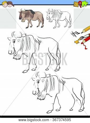 Cartoon Illustration Of Drawing And Coloring Educational Activity For Children With Funny Wildbeast