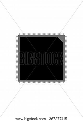 Electronic Component Microcircuit On A White Background. Electronic Technology. Chip. Electronics Re