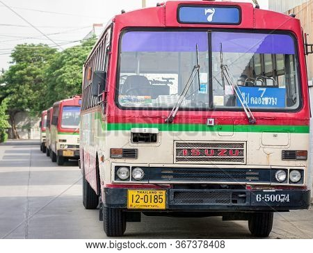 Bangkok, Thailand - May 16: Non-air Conditioned Public Diesel Buses Number 7 Stand By For Deployment