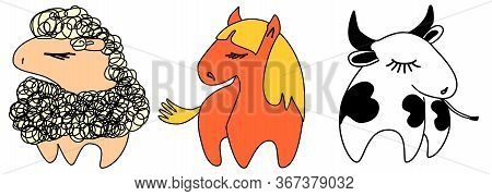 Farm Animals Cute Illustration Set. Sheep, Horse And Cow For Farm Business, Design Elements For Kids