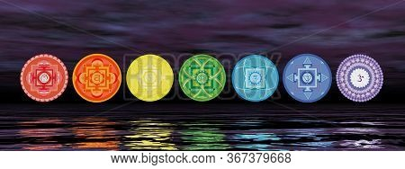 Seven Chakra Symbols On The Horizon Line By Night - 3d Render