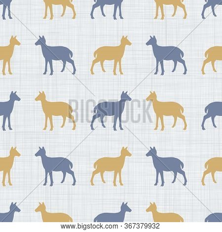 Seamless French Farmhouse Doe Deer Silhouette Pattern. Farmhouse Linen Shabby Chic Style. Hand Drawn