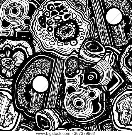 Sketch Mineral For Decorative Design. Druse Texture. Abstract Black And White Background. Stylish Mo