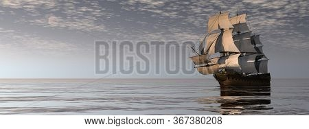Beautiful Old Merchant Ship Floating On Quiet Water By Cloudy Night - 3d Render