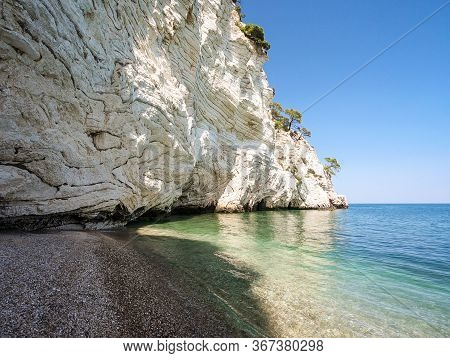 Landscape Of The Beach And The White Cliffs Of Vieste, Gargano Peninsula, Apulia, Italy