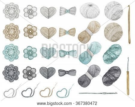 Crochet Shop Concept Of Hooks, Ball Of Yarn, Crocheted Heart, Bow, Hook, Flowers. Watercolor Hand Dr