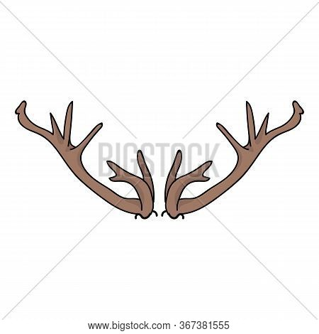 Deer Antler Vector Clipart. Forest Woodland Skull Flat Color Illustration. Hand Drawn Forest Animal