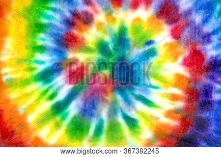 Tie Dye Spiral Shibori Watercolor Hand Painted Colorful Ornamental Elements On White Background. Wat