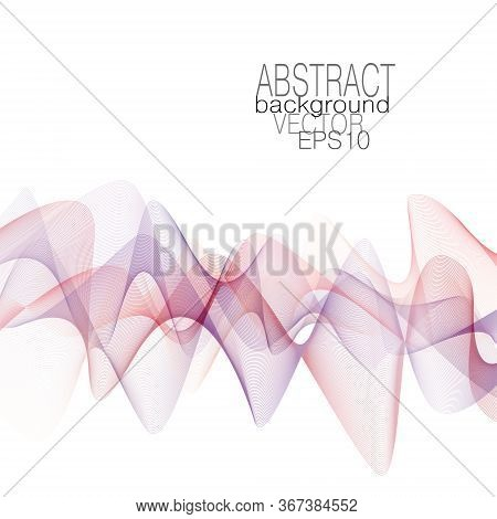 Red, Purple And Violet Dynamic Waves. Colored Line Art Pattern. Vector Flowing Design Element. Abstr
