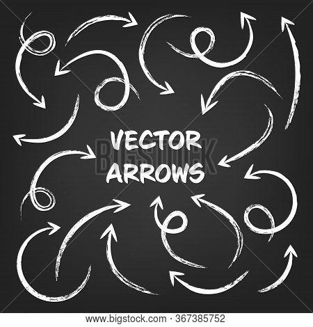 White Grunge Hand Drawn Arrows Set On Gray Background. Arrow, Cursor Icon. Vector Pointers Collectio