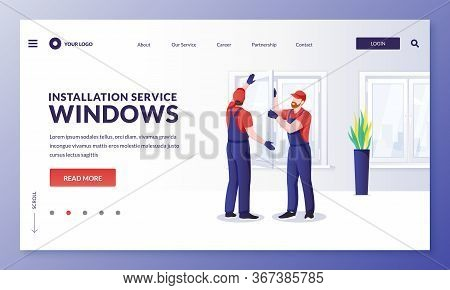 Plastic Window Repair And Installation Service. Handymen Replace Old Windows To New Ones. Vector Cha