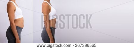 Before After Weight Loss. African American Woman Diet