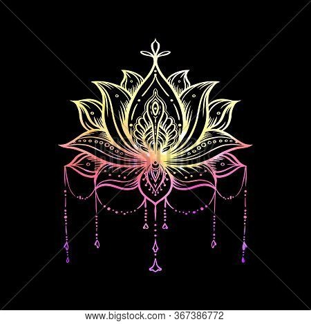 Ornate Lotus Flower. Ayurveda Symbol Of Harmony And Balance And Universe. Tattoo Design, Yoga Logo.