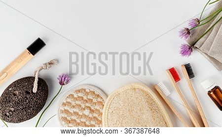 Face And Body Sponges, Bamboo Toothbrushes, Perfume And Pumice. Organic Bathroom Accessories On Whit