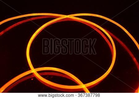 A Light Guide, A Wire With Orange Light, A Light Guide Wire With Different Light Transmission, Light