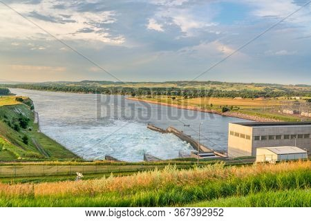 Fort Randall Dam and hydro power plant on Missouri River in South Dakota