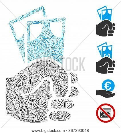 Line Collage Banknotes Salary Hand Icon Organized From Thin Items In Different Sizes And Color Hues.