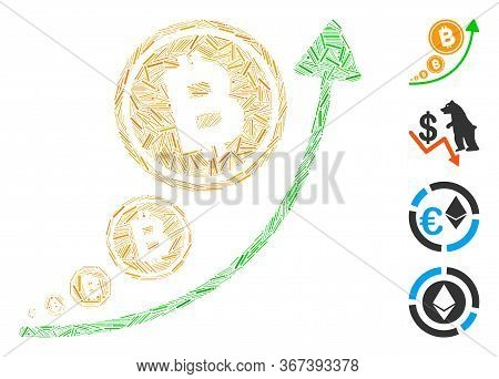 Hatch Mosaic Bitcoin Inflation Trend Icon Organized From Thin Items In Different Sizes And Color Hue