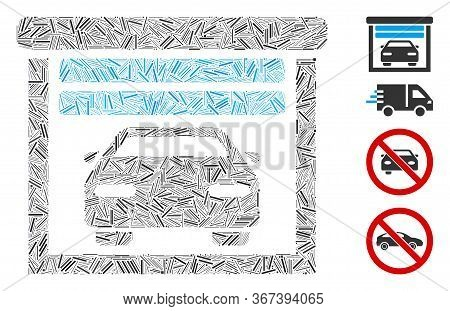 Line Mosaic Car Garage Icon United From Straight Items In Random Sizes And Color Hues. Line Items Ar