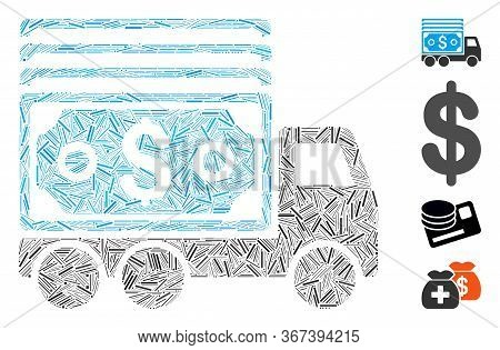 Linear Mosaic Cash Lorry Icon Organized From Narrow Elements In Different Sizes And Color Hues. Line