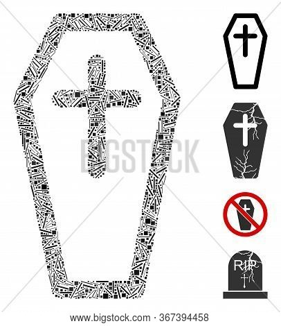 Hatch Mosaic Christian Coffin Icon Composed Of Narrow Items In Different Sizes And Color Hues. Irreg