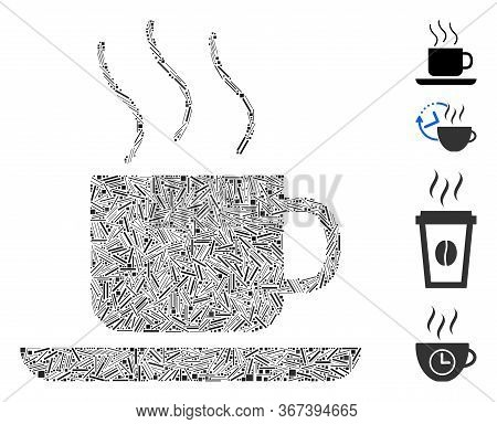Line Collage Coffee-break Icon Composed Of Narrow Items In Random Sizes And Color Hues. Line Items A
