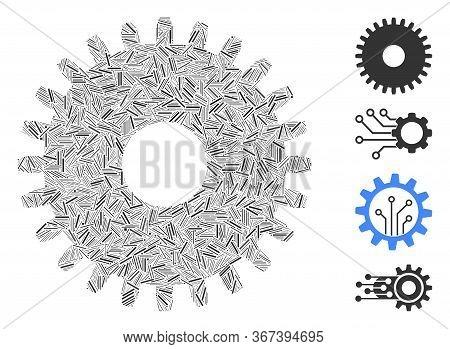 Linear Mosaic Cogwheel Icon Organized From Thin Items In Various Sizes And Color Hues. Lines Items A