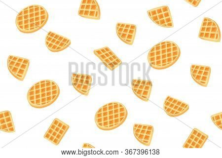 Yellow Belgian Waffles Seamless Pattern For Print Design. Cartoon Sweet Vector Illustration. Golden