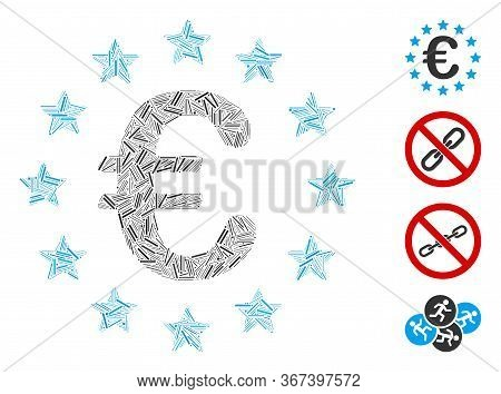Linear Mosaic European Union Icon United From Thin Elements In Random Sizes And Color Hues. Linear P