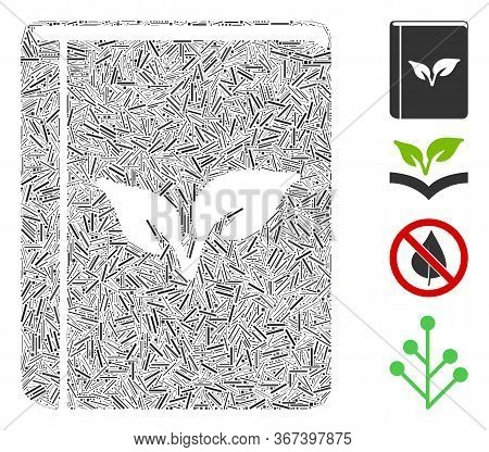 Hatch Mosaic Flora Book Icon United From Narrow Items In Variable Sizes And Color Hues. Linear Items