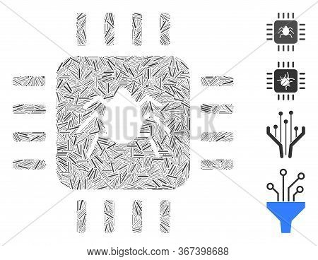 Hatch Mosaic Hardware Bug Icon Composed Of Narrow Elements In Various Sizes And Color Hues. Lines El
