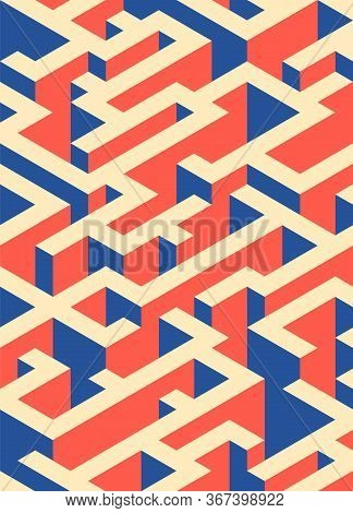 Abstract Colorful Isometric Geometric Shape Pattern Background Modern Art Style. Graphic Design Elem