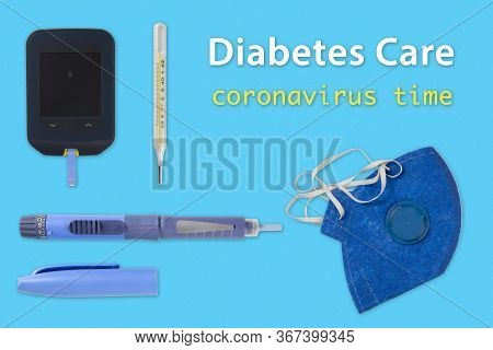 Products For Diabetes Care And Thermometer And Mask To Protect Yourself From Covid-19