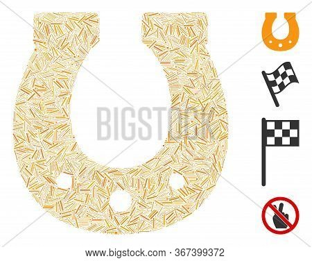 Hatch Mosaic Lucky Horseshoe Icon Organized From Thin Items In Random Sizes And Color Hues. Irregula