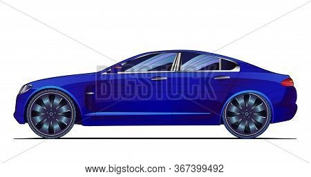 Car Colorful Vector Illustration. Coloured Icon, Banner, Image For Mobile App And Website. Isolated