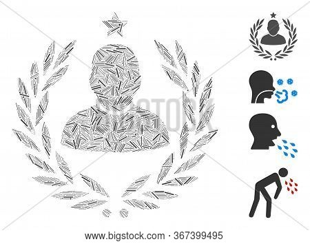 Line Collage Man Glory Laurel Emblem Icon United From Straight Items In Various Sizes And Color Hues