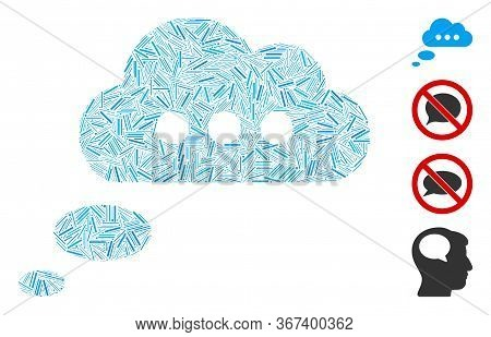Hatch Collage Opinion Cloud Icon Designed From Thin Elements In Various Sizes And Color Hues. Irregu
