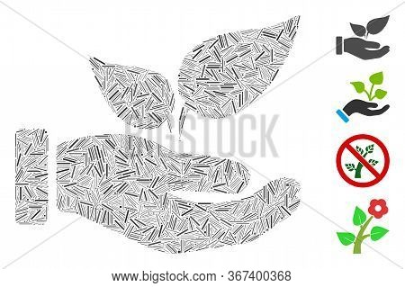 Linear Collage Organic Supplement Hand Icon Composed Of Straight Items In Different Sizes And Color