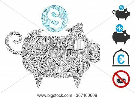 Line Mosaic Piggy Bank Icon Organized From Straight Items In Various Sizes And Color Hues. Linear It