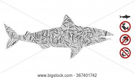 Hatch Mosaic Shark Icon United From Thin Items In Variable Sizes And Color Hues. Line Elements Are U