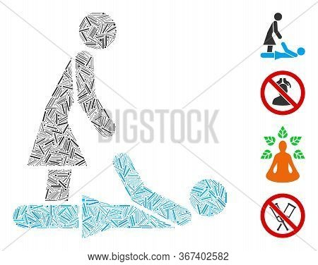 Line Collage Thai Massage Icon Composed Of Thin Items In Random Sizes And Color Hues. Line Items Are
