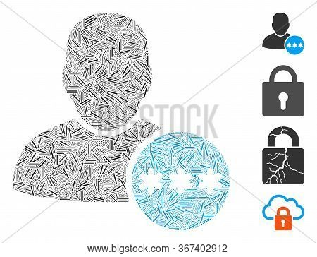 Line Collage User Password Icon Constructed From Narrow Items In Various Sizes And Color Hues. Line