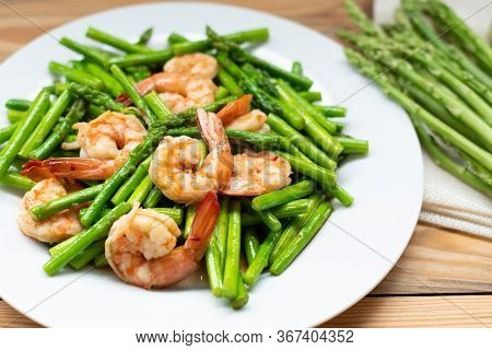 Asparagus Fried With Shrimp Healthy Appetizer. Top View